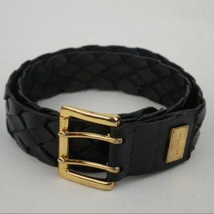 Michael Kors M black woven leather belt goldtone